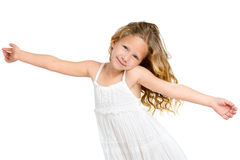Cute gril with arms wide open. Stock Photography
