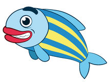 Cute grinning fish with red lips Royalty Free Stock Image