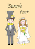 Cute groom and bride. Standing and holding hands vector illustration