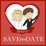 Cute groom and bride couple wedding invitation design Template Vector card save the date. Royalty Free Stock Photo