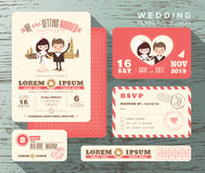 Cute groom and bride couple wedding invitation set design Template Royalty Free Stock Image