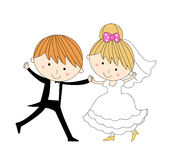 Cute Groom and bride. Illustration of cute groom and bride Royalty Free Stock Photos