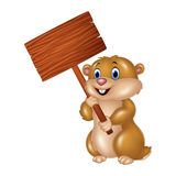 Cute Groundhog holding blank sign Royalty Free Stock Photography