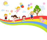 Cute group of children and rainbow Stock Photos
