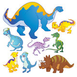 Cute group Dinosaurs  many actions Stock Images