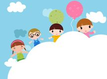 Cute group of kids and balloon Stock Images