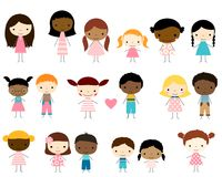 Vector stick figures kids diversity- boys and girls. Cute group of stick figures kids - boys and girls with different skin tones stock illustration