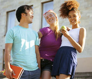 Cute group teenages at the building of university Stock Photography