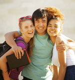 Cute group of teenages at the building of Royalty Free Stock Photo