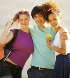 Cute group of teenages at the building of Stock Photography