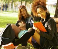 Cute group teenages at the building of university Royalty Free Stock Photos