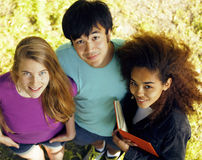 Cute group of teenages at the building of Royalty Free Stock Image