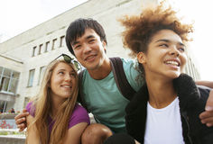 Cute group of teenages at the building Royalty Free Stock Photography
