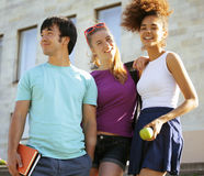Cute group of teenages at the building of Stock Images