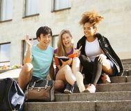 Cute group of teenages at the building  university Stock Photo