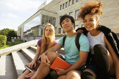 Cute group of teenages at the building of Royalty Free Stock Images