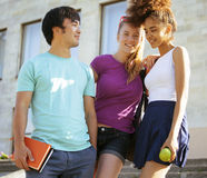 Cute group of teenages at the building of Stock Image