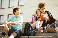 Cute group of teenages at the building of Stock Photos
