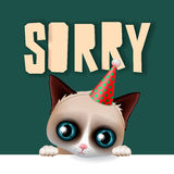 Cute grumpy cat apologize sorry card. Vector illustration royalty free illustration