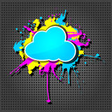 Cute  grunge cloud computing icon Stock Images