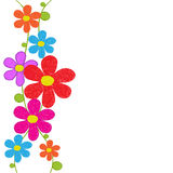 Cute grunge flowers  hand drawn vector for card or invitation Royalty Free Stock Image