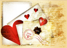 Cute grunge valentine background with red heart, paper and words Royalty Free Stock Photo