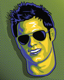 Cute Guy Face in Pop Art Style Royalty Free Stock Photography