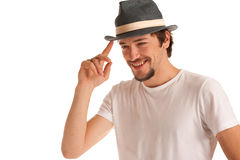 Cute guy with a hat on a head Royalty Free Stock Photography