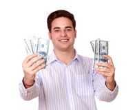 Cute guy holding cash money and smiling Stock Photography