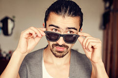 Cute guy in sunglasses Stock Photography