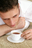 Cute guy with tea Royalty Free Stock Image