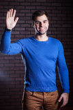 Cute guy waves his hand in greeting Stock Image