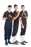 Cute guys in shape for the game of baseball. Two of the boys twin brothers royalty free stock photo