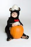 Cute Halloween Baby. Cute baby holding halloween pumpkin