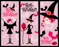 Cute Halloween banner set Stock Photos