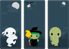 Cute Halloween banners. Cute Halloween vertical banners illustration with classic monsters Royalty Free Stock Photos