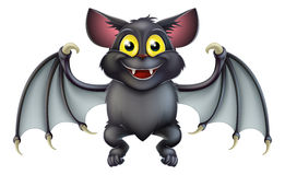 Cute Halloween Bat Cartoon Stock Photos