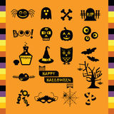 Cute Halloween black silhouette icons set Royalty Free Stock Image