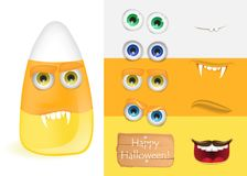Cute halloween candy corn monster with various faces.   Royalty Free Stock Images