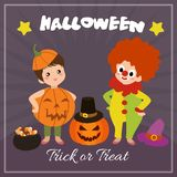 Halloween card with clown characters. Cute halloween card with clown characters vector illustration