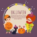 Halloween card with clown kids. Cute halloween card with clown kids Royalty Free Illustration