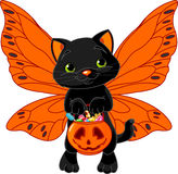 Cute Halloween cat. Cat with bag full of Halloween treats Royalty Free Stock Photos
