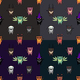 Cute Halloween cats set with different backgrounds. Colors. Simple and nice illustration Royalty Free Stock Images