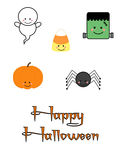 Cute Halloween Characters. Cute childrens Halloween holiday clipart for scrapbooking, card making, paper crafting, and more including Happy Halloween text Royalty Free Stock Photography