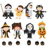 Cute Halloween Characters and Costume Stock Photography
