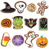 Cute Halloween Cookies Clipart. Elements and Icons Royalty Free Stock Image