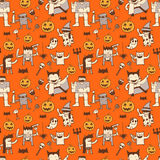 Cute Halloween Doodle Seamless Pattern Royalty Free Stock Images