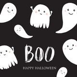 Cute halloween ghosts card. Cute halloween invitation or greeting card. Small smiling ghosts and text Boo. Can be used for wallpaper, greeting cards, invitation Stock Photo