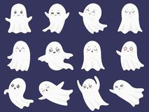 Cute halloween ghosts. Frightened funny ghost, curious spook and smiling ghostly character cartoon vector illustration vector illustration