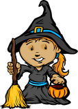 Cute Halloween Girl In Witch Costume stock illustration
